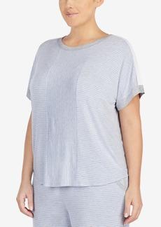 Dkny Plus Size Contrast-Trim Pajama Top