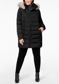 Dkny Plus Size Faux-Fur-Trim Puffer Coat