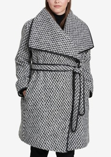 Dkny Plus Size Faux-Leather-Trim Belted Wrap Coat