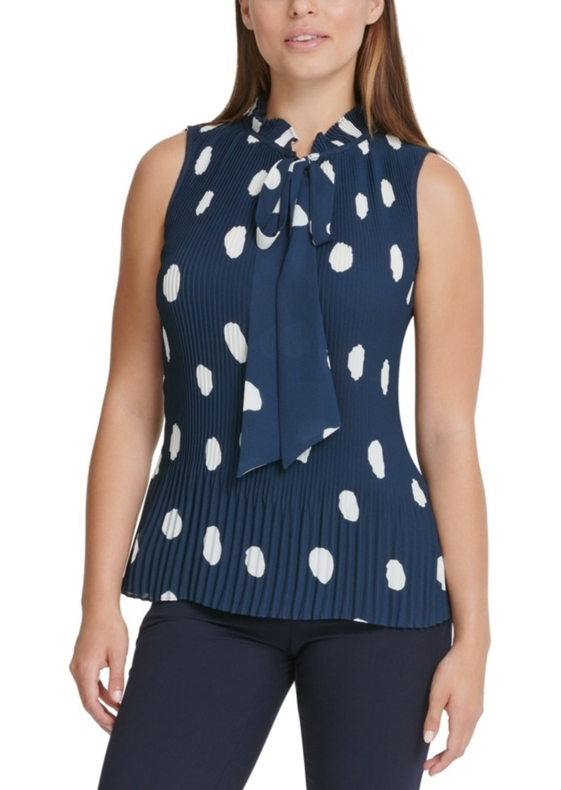 Dkny Polka-Dot Pleated Top
