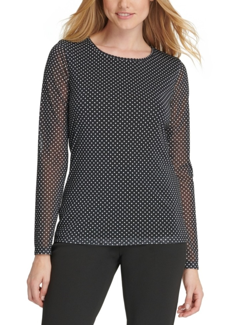 Dkny Printed Sheer-Sleeve Top