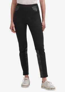 Dkny Ponte-Knit & Faux-Leather Skinny Pants, Created for Macy's
