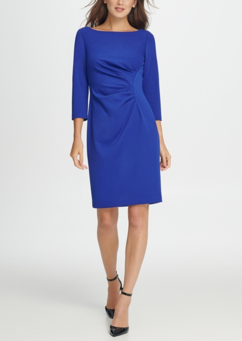 Dkny Ponte Side Ruche Sheath Dress