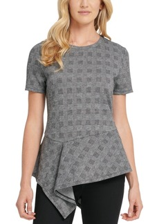 Dkny Printed Asymmetrical-Hem Top