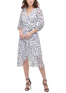 Dkny Printed Balloon-Sleeve Midi Dress