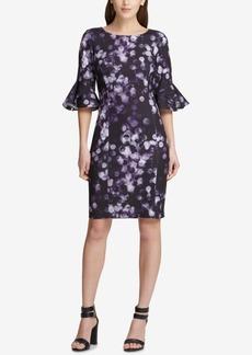 Dkny Printed Bell-Sleeve Sheath Dress, Created for Macy's