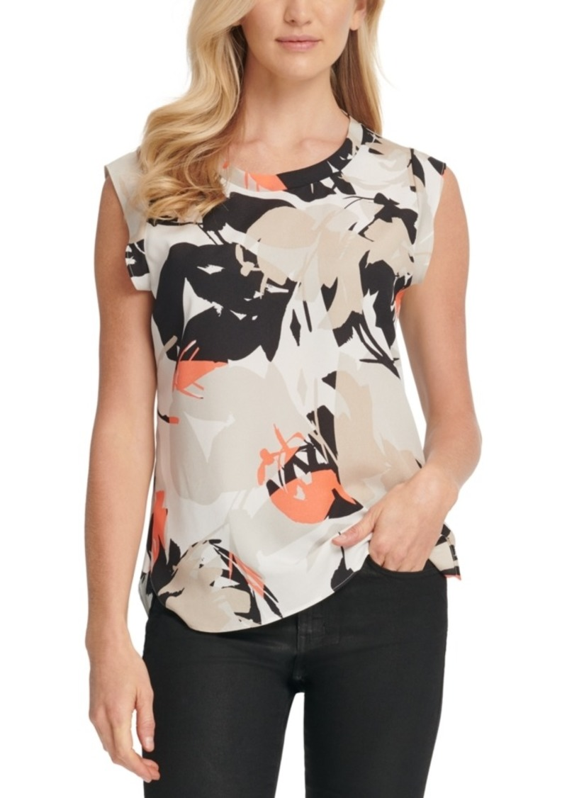 Dkny Printed Cap-Sleeve Top