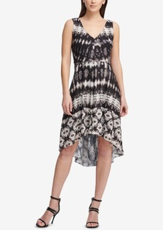 Dkny Printed Double-v High-Low Dress, Created for Macy's