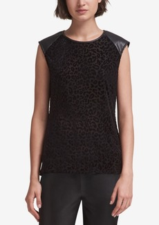 Dkny Printed Faux-Leather-Trim Top, Created for Macy's