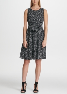 Dkny Printed Fit & Flare Tie Waist Dress, Created for Macy's