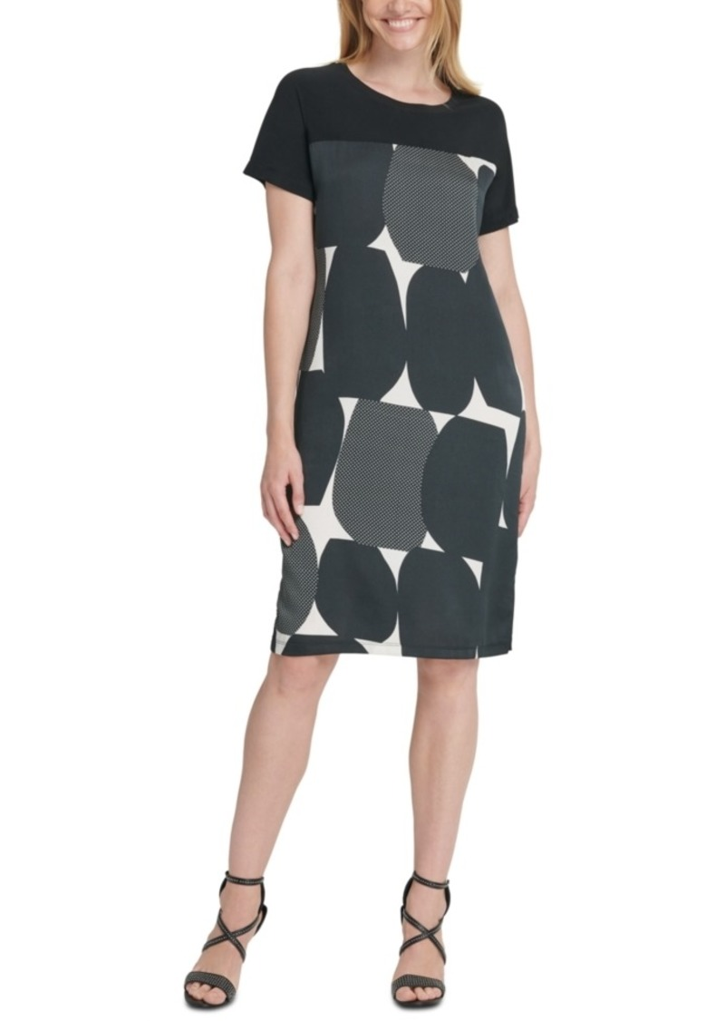 Dkny Printed-Front Mixed-Media Dress
