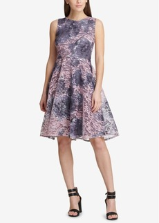 Dkny Printed Lace Fit & Flare Dress, Created for Macy's