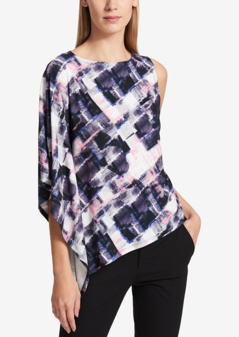 0182aab5ddaf1e DKNY Dkny Printed One-Shoulder Top