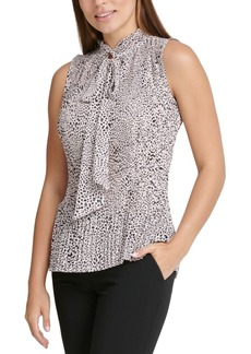 Dkny Printed Pleated Top