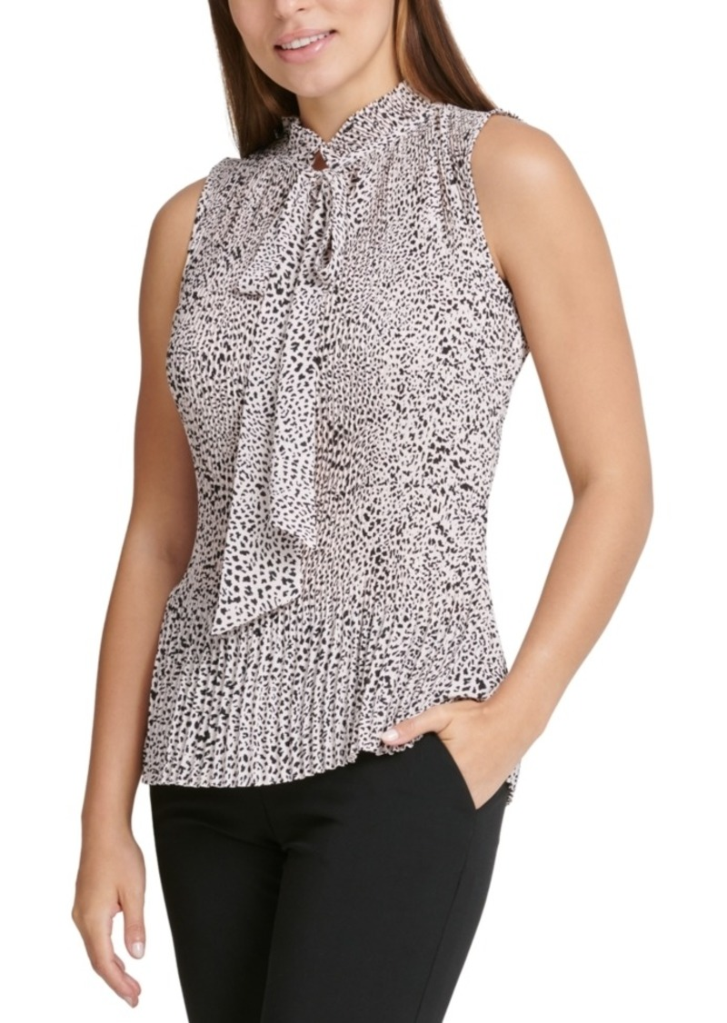 Dkny Petite Animal-Printed Pleated Top