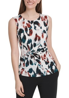 Dkny Animal-Print Side-Knot Top