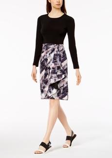 Dkny Printed-Skirt Faux-Wrap Dress