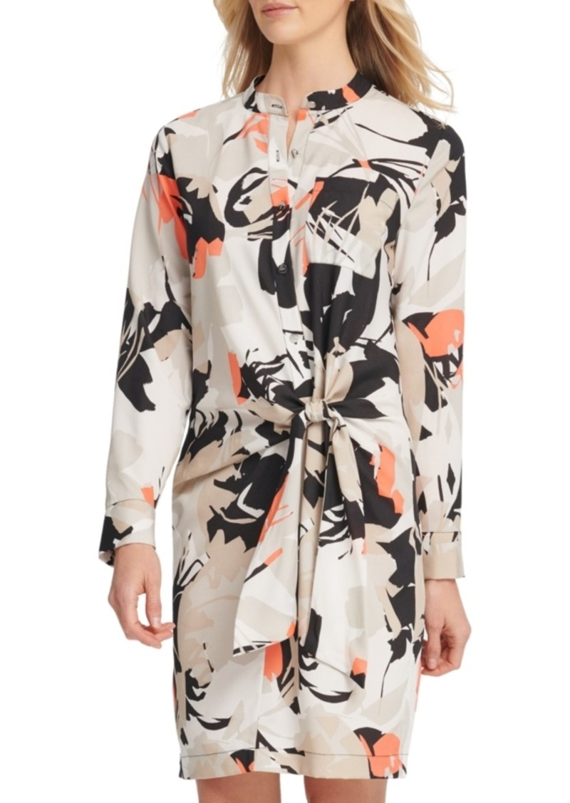 Dkny Printed Tie-Front Shirtdress