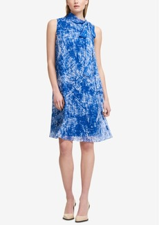 Dkny Printed Tie-Neck Dress, Created for Macy's