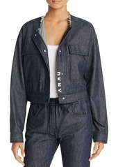 DKNY Pure Drop Shoulder Crop Denim Jacket