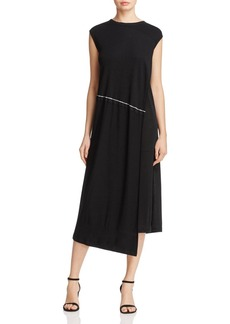 DKNY Pure Ribbed-Overlay Sleeveless Dress