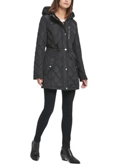 Dkny Quilted Faux-Leather-Trim Anorak Jacket