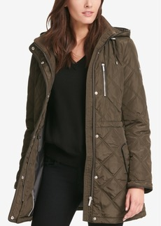 Dkny Quilted Faux-Leather-Trim Coat, Created for Macy's
