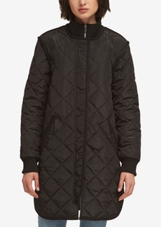 Dkny Quilted Mock-Neck Coat, Created for Macy's