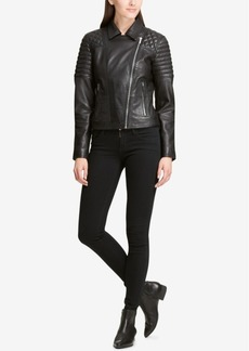 Dkny Quilted-Shoulder Leather Moto Jacket