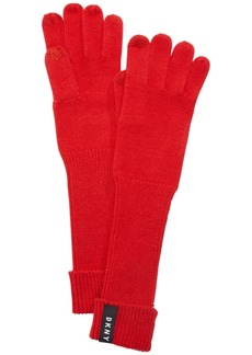 Dkny Ribbed-Knit Extended Touch Gloves, Created for Macy's