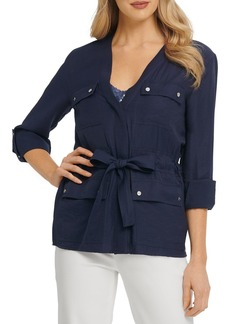 DKNY Rolled Cuff Belted Soft Jacket