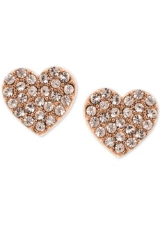 Dkny Pave Heart Stud Earrings, Created for Macy's