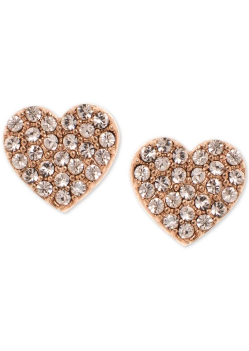Dkny Pave Heart Stud Earrings, Created for Macy's