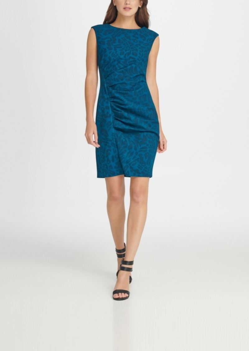 Dkny Ruched Animal Print Sheath Dress