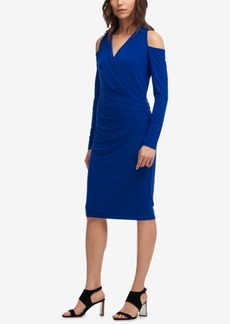 Dkny Ruched Faux-Wrap Cold-Shoulder Dress, Created for Macy's