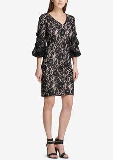 Dkny Ruched-Sleeve Lace Sheath Dress, Created for Macy's