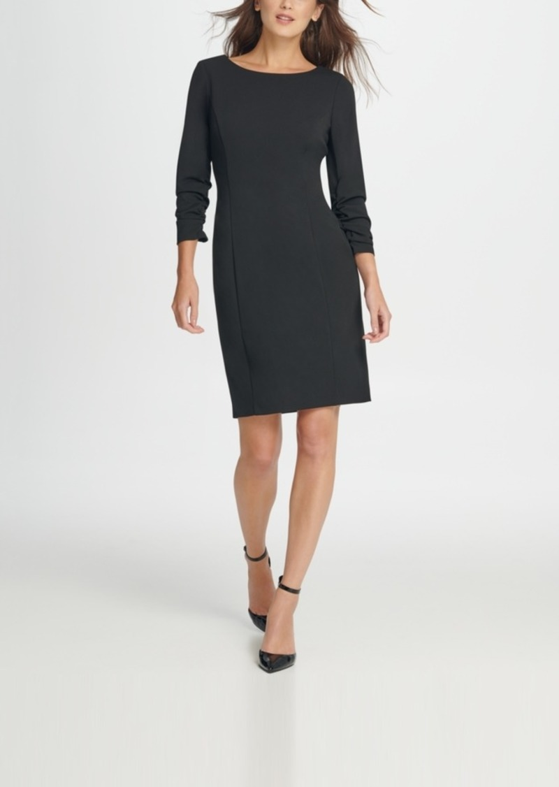 Dkny Ruched Sleeve Sheath Dress