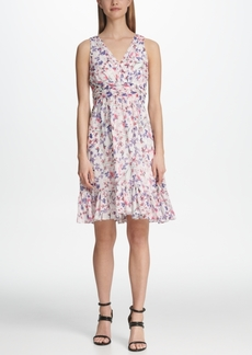 Dkny Ruched Waist Floral Chiffon Dress