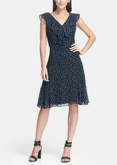 660cb50255 Dkny Ruffle Chiffon Polka Dot A-Line Dress
