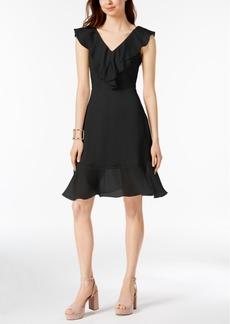 Dkny Ruffle Chiffon Fit & Flare Dress, Created for Macy's