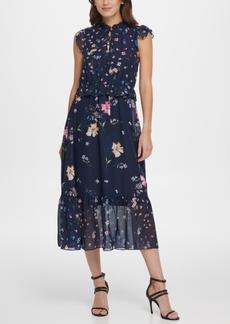 Dkny Ruffle High Neck Maxi Dress
