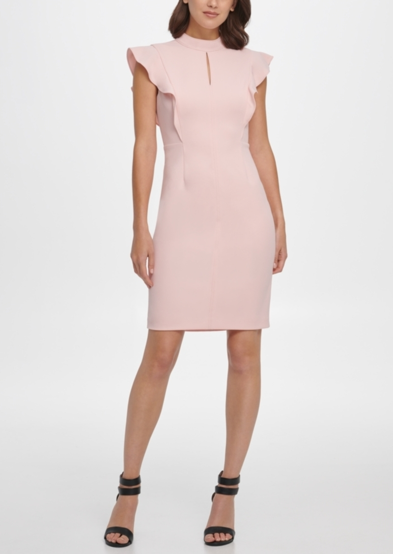 Dkny Ruffle Sleeve Mock Neck Sheath Dress