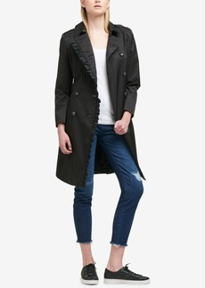 Dkny Ruffle-Trim Belted Trench Coat