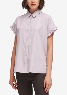 Dkny Ruffle-Trim Lurex Striped Shirt, Created for Macy's