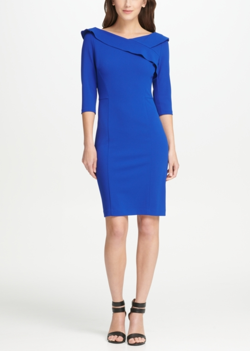 Dkny Ruffle V-Neck Sheath Dress