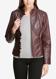 Dkny Ruffled Leather Moto Jacket, Created for Macy's