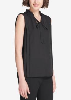 Dkny Ruffled Tie-Neck Sleeveless Blouse, Created for Macy's