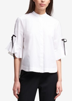 Dkny Ruffled Tie-Sleeve Blouse, Created for Macy's