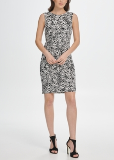 Dkny Scribble Print Ruched Jersey Sheath Dress