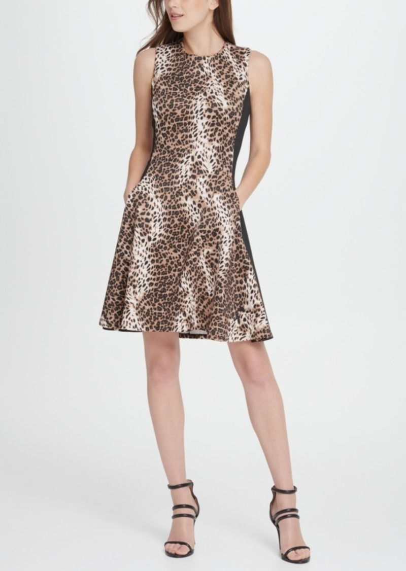 Dkny Scuba Colorblock Animal Print Fit Flare Dress